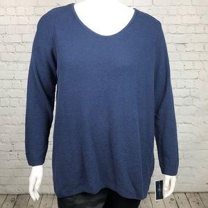 Navy Blue Scoop Neck Sweater Plus Size 2X